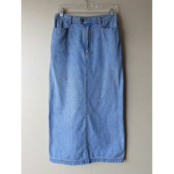 90s fitted denim maxi skirt size 10 medium