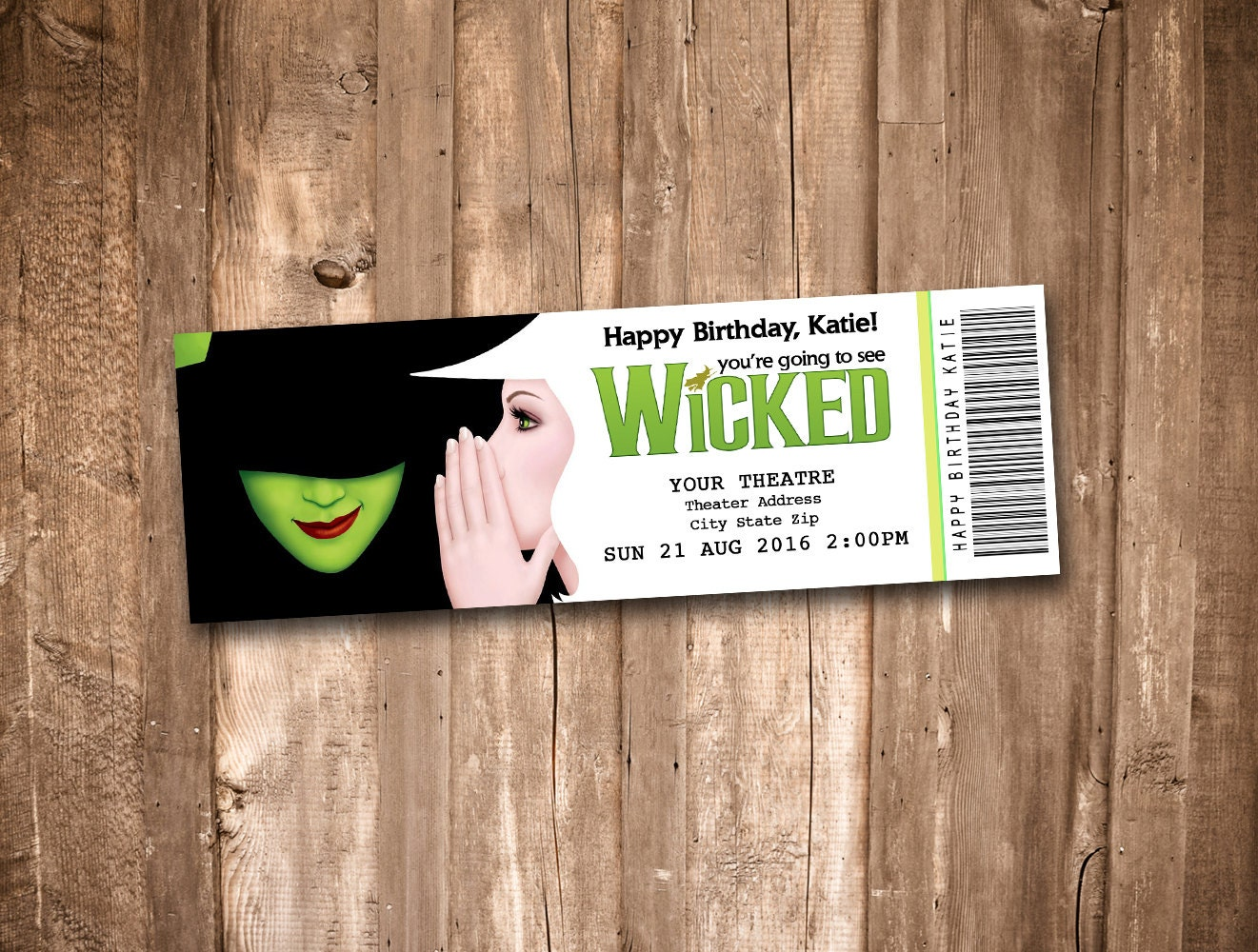 Wicked the Musical Collectible Theater Ticket – Broadway Ticket Template