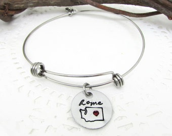 Washington State Bracelet, Hand Stamped Jewelry, Home Bangle Bracelet, Seattle Love, Home Is Where The Heart Is, Home State, Missing Home