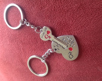New Couple I LOVE YOU Heart Keychain Ring Keyring
