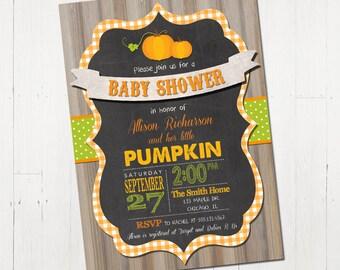 Pumpkin Baby Shower Invitation, Fall Baby Shower Invitation, Rustic Baby Shower Invitation, Printable Baby Shower Invitation