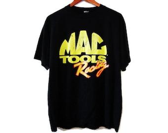 Vintage 80s MAC Tools Racing T-Shirt - Large - Vintage Tees - Mens Tee - Tshirts - T-Shirts -