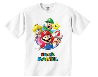 Personalized Super Mario Bros T-Shirt, Mario Bros Birthday T-Shirt, Mario Bros Birthday Party, Mario Bros T-Shirt, Super Mario Bros T-Shirt