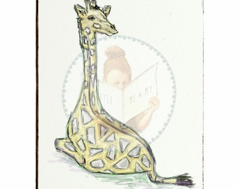 Gerry Giraffe | 2:3 Rectangle | Illustration | Canvas Art | Farmyard Friends | Decorate | Wall Hangings | Child | Adult | Little Me and My