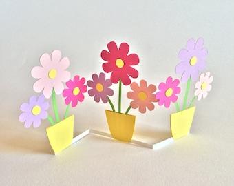 Handcut Concertina Flowers Greeting Card