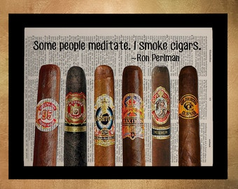 Cigars Dictionary Art Print Cigar Decor Ron Perlman Quote Wall Art Gift Ideas for Men Man Cave Fathers Day da970