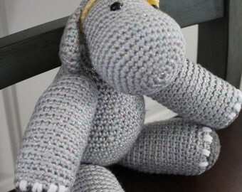 HANDMADE Hilda The Hippo. Stuffed Hippo. Hippo Stuffie. Stuffed Animal.