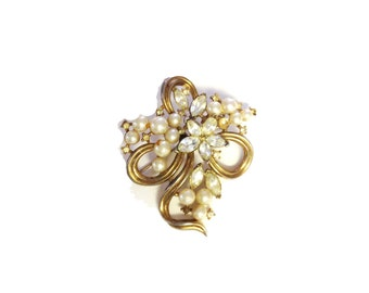 Gold, Pearl, and Rhinestone Brooch