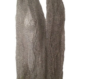 Vintage Cotton Black and White Cheesecloth Scarf