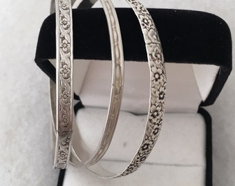 Three Hand Wrought Bangles Two Floral Design All Sterling Silver = 925 Vintage Patina