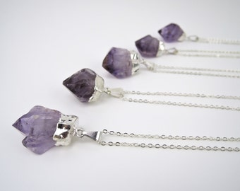 Amethyst Point Pendant, Amethyst Necklace, Crystal Necklace, Natural Jewelry,Boho Chic Necklace,Healing Crystal Necklace,Raw Amethyst Silver