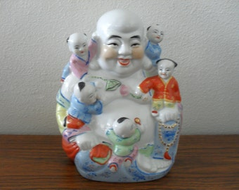 Vintage Chinese Laughing Buddha With Children