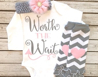 Baby Girl Clothes, Worth the Wait Bodysuit, Worth the Wait, Worth The Wait Baby Girl Shirt, Take Home Outfit, Baby Shower Gift
