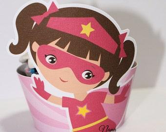 Pink Super Hero Cupcake Wrapper-Super Hero-Girl Super Hero-Cupcake Wrapper