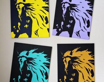 Horse Pop Art, Original Painting, 4 X (16x20), Acrylic on Canvas, Home Decor