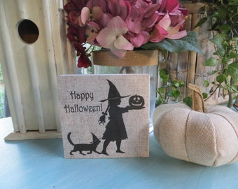 "Wood Halloween Sign, ""Happy Halloween"", Halloween Decorations, Witch Sign, Halloween Witch Sign, Kid's Halloween Decorative sign"