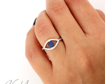 Sterling silver 925 Evil Eye ring with blue and clear CZ Elegant Band (R-21)