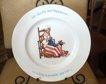 Bicentennial Plate, American Flag, Vintage Hollie Hobbie, Hollie Hobbie Plate, Betsy Ross Plate, Collectible Plate, Political