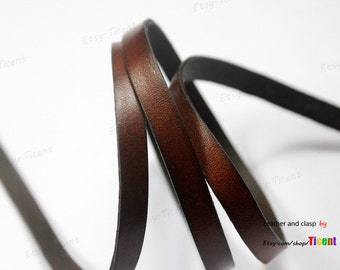 8mmx2mm Dark Brown Flat Distressed Leather Cord, 8mm Leather Bracelet Strip by Yard GF8M-9