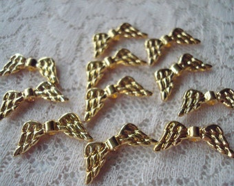 22 Gold Angel Wings. 8x19mm Make Your Own Angels . New Gold Finish Angel Wings  ~USPS Ship Rates from Oregon