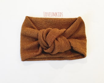 Baby Toddler Girl Rust Colored Sweater Knit Wide Turban Top Knot Headband, Head wrap