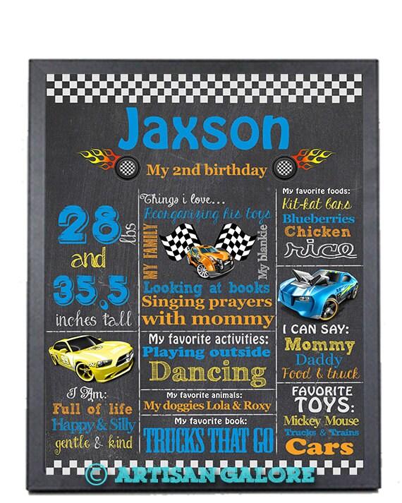 SALE Race Cars Theme Birthday Chalkboard Sign Poster Printable
