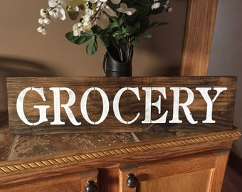 Grocery Kitchen Stained Rustic Wood Sign