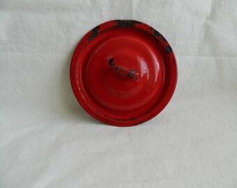 Vintage Red Enamel Pot Lid