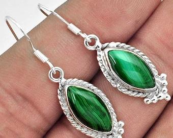 Earrings sterling silver .925 Malachite