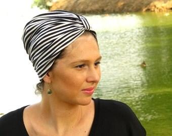 BLACK N WHITE Stripes turban hat  womens turban hat  turban headwrap  turban hijab  chemo headwear