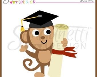 Graduation Clipart, Graduation clip art, graduation cap, monkey clipart, diplmoa clipart, school clipart, instant download