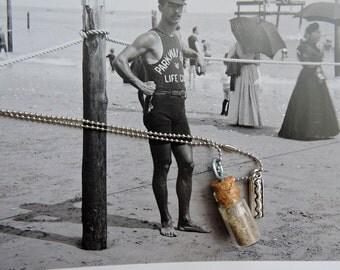 Coney Island,Coney Island Brooklyn NY, Sand Vial Necklace with Hot Dog Charm, Coney Island Jewelry,Coney Island Necklace