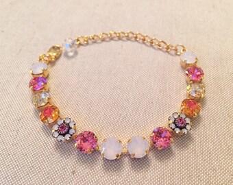 Pink Buttercup: Swarovski Crystal Flower Bracelet (8mm) in Gold Setting