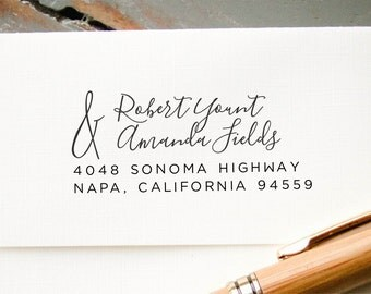 Custom Address Stamp, Calligraphy Wedding Address Stamp, Self Inking Return Address Stamp, Wedding Address Stamp, Custom Address Stamp