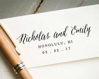 Self Inking Stamp, Custom Rubber Stamp, Custom Save the Date Stamp, Personalized Stamp, Wedding Announcement, Modern Hand Script