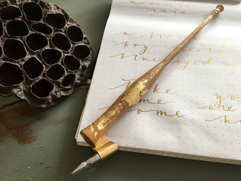 Olive Wood Oblique Calligraphy Pen Dip Pen Nib Holder