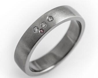 Unique wedding band, modern engagement ring, simple wedding ring, pink sapphire, diamond wedding band, flush set ring, matte diamond ring