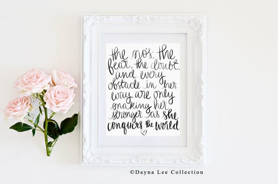 She Conquers the World - Hand Lettered Quote Art Print