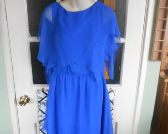 "VINTAGE SUMMER SALE Vintage ""Miss Elliete"" of California Blue Chiffon dress- sharp layered look and wonderful flow- Size 10.  Elegance and b"