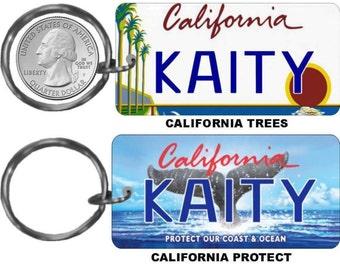 Personalized California replica license plate keychain overlaminated