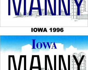 Personalized Iowa Refrigerator Magnet State License Plate Replica