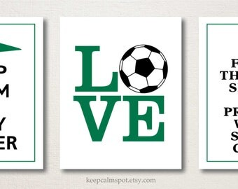 Girl's Soccer Print Set, Keep Calm & Play Soccer, This Princess Wears Soccer Cleats, Set of 3, Teens Tweens