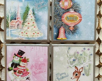 COASTERS!! Vintage Christmas coasters with silver trim
