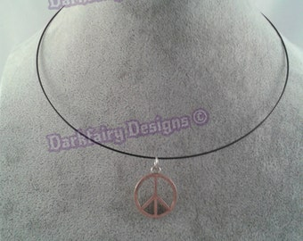 Memory wire necklace with CND charm