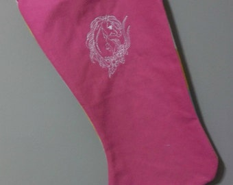 horse head Christmas stocking  embroidered design