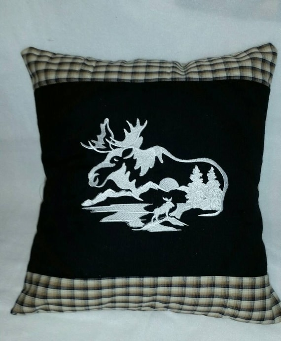 Moose handmade throw pillow cover embroidered design wildlife