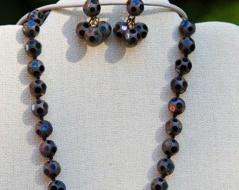 Vintage VOGUE Glass Necklace and Earrings Set, Signed VOGUE, Vintage – NICE