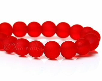 Red Frosted Glass Beads 6mm - 75/150/300 Wholesale Glass Strands For Jewelry Making G4580