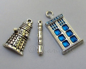 Doctor Who Tardis, Sonic Screwdriver And Dalek Charms Mix - 3/15/30 Wholesale Silver Plated Pendant Findings CM2008