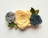 Felt flower headband, yellow and grey flowers, nude nylon headbandu